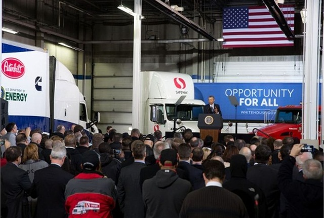 President Obama announced new truck fuel-economy standards at the Safeway Distribution Center in Upper Marlboro, Md.