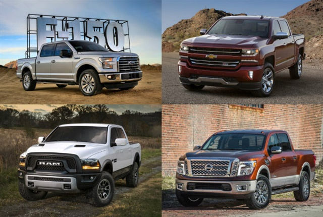 Photo of 2017-MY half-ton pickups courtey of manufacturers.