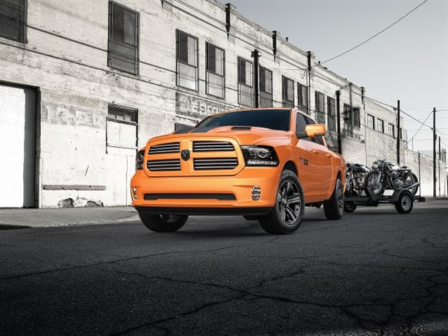 The Ram 1500 Ignition Orange Sport package is limited to Crew Cab V-8 models with a starting MSRP of $43,740 plus $1,320 destination. (Photo courtesy of Ram Truck)