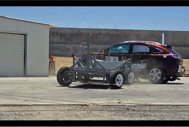 A NHTSA side-impact crash test.
