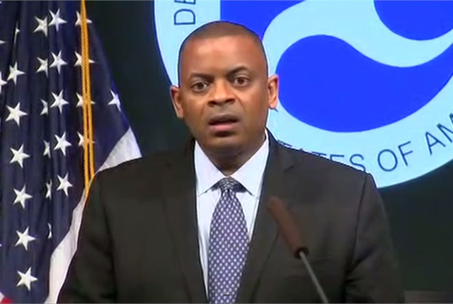 Screen shot of U.S. Transportation Secretary Anthony Foxx during press conference, via YouTube.