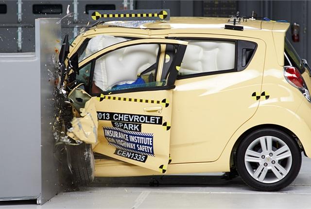 The Chevrolet Spark undergoes IIHS crash testing. Photo: IIHS.