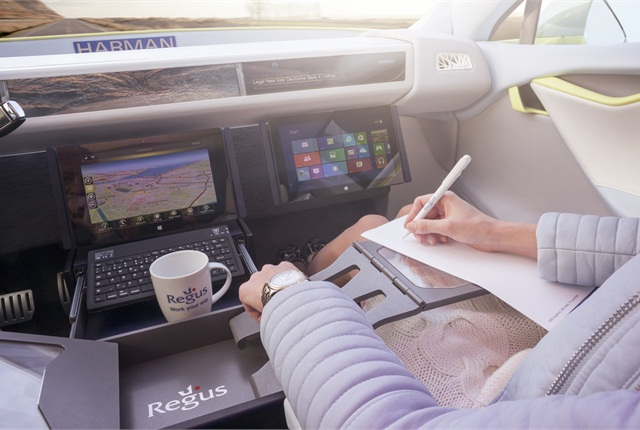 The XchangE autonomous concept is an office on wheels, with all the amenities that can be found in a modern office building, including full Internet connectivity.