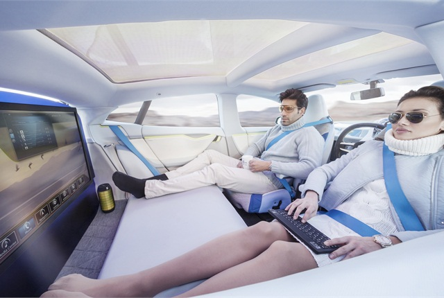 The Rinspeed XchangE concept features an infotainment system by Harman. Occupants can work or hold meetings in the same comfort as a business-class airline cabin.