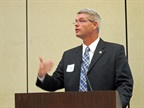 <p><strong>Derek Barrs, Florida's chief of commercial vehicle enforcement, asked for a show of hands among the state enforcement people in the room if they were ready for the ELD mandate. </strong><em><strong>Photo</strong>: Deborah Lockridge</em></p>