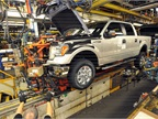 <p>A Ford F-150 is being assembled at the automaker's Kansas City Assembly Plant. Ford is adding 2,000 jobs to meet F-150 demand and to build the all-new Ford Transit.</p>