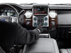 <p>The MY-2013 Super Duty Platinum Series features an all-new interior and touch-screen functionality designed specifically for drivers who may be wearing heavy work gloves.</p>