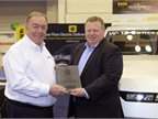 Photo of Innovation Award presented to Workhorse courtesy of The Work Truck Show.