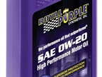 <p><em>Photo courtesy of Royal Purple Inc.</em></p> <p>Royal Purple's 0W-20 synthetic oil optimizes engine performance, increases fuel efficiency and provides superior wear protection and corrosion resistance over mineral based competitors. </p>