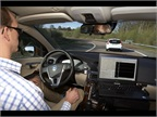 <p>Andreas Ekenberg of Volvo drives a test car as part of the Autonomous Driving Support project.</p>