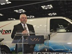 Ken Sparks of Verizon talks to the press about the new van from VIA