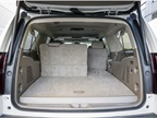 When the third-row seat is in the upright position, the Suburban can