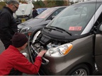 People got a closer look at some of the battery-electric technology.