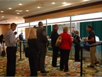 Attendees lined up to register for the conference.