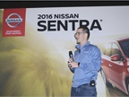 Tony Baehner, senior manager of product planning for Nissan, presents