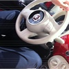 Fiat 500 interior - my riding partner was 6  6  and fit (barely).